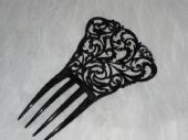 Black Celluloid Haircomb- French signed Auguste Bonaz (SORRY THIS ITEM IS SOLD)